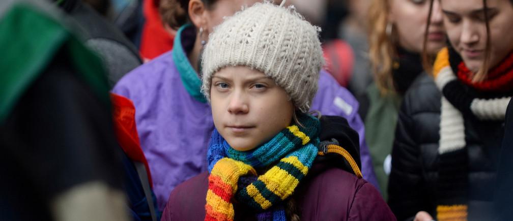 Greta Thunberg lors d'une grève climatique européenne à Bruxelles, Belgique, le 6 mars 2020.
