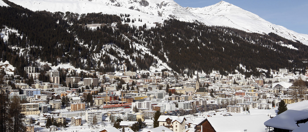 A general view shows the Swiss mountain resort of Davos