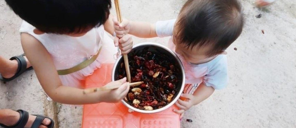 Children of cockroach farm owner Li Bingcai eat fried cockroaches at his farm in a village in Changning county, Sichuan province, China August 11, 2018. Picture taken August 11, 2018. REUTERS/Thomas Suen