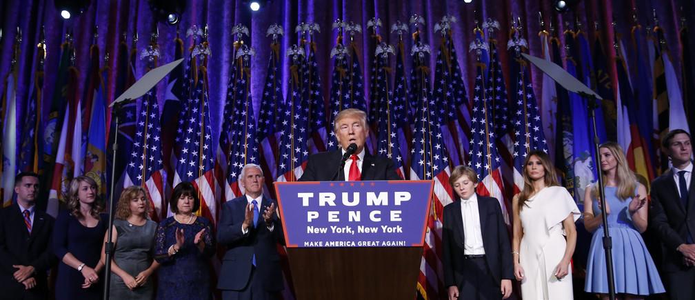 U.S. President-elect Donald Trump speaks at his election night rally in Manhattan, New York, U.S., November 9, 2016. REUTERS/Carlo Allegri - RTX2SPSD