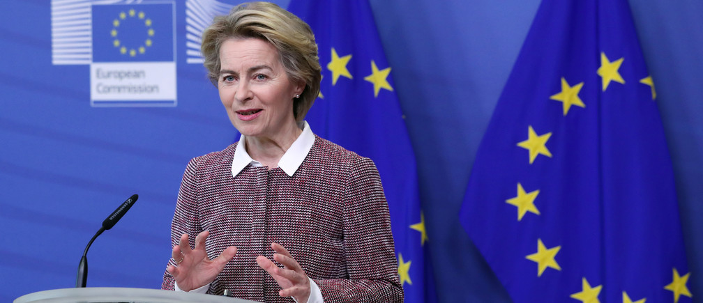 European Commission President Ursula von der Leyen speaks during the presentation of the European Commission's data/digital strategy in Brussels, Belgium February 19, 2020.  REUTERS/Yves Herman - RC2N3F9YAQGT