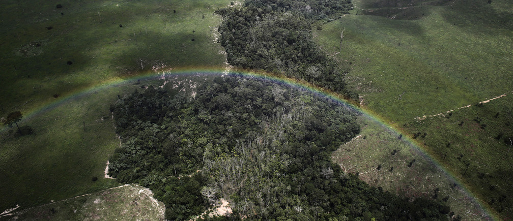 A rainbow is seen over a tract of Amazon rainforest which has been cleared by loggers and farmers for agriculture, near the city of Uruara, Para State April 22, 2013. The Amazon rainforest is being eaten away at by deforestation, much of which takes place as areas are burnt by large fires to clear land for agriculture. Initial data from Brazil's space agency suggests that destruction of the vast rainforest - the largest in the world - spiked by more than a third over the past year, wiping out an area more than twice the size of the city of Los Angeles. If the figures are borne out by follow-up data, they would confirm fears of scientists and environmental activists who warn that farming, mining and Amazon infrastructure projects, coupled with changes to Brazil's long-standing environmental policies, are reversing progress made against deforestation. Environmental issues will be under the spotlight as a United Nations Climate Change Conference opens in Warsaw, Poland on November 11. Picture taken on April 22, 2013. REUTERS/Nacho Doce (BRAZIL - Tags: ENVIRONMENT POLITICS SOCIETY AGRICULTURE TPX IMAGES OF THE DAY)ATTENTION EDITORS: PICTURE 53 OF 55 FOR PACKAGE 'AMAZON - FROM PARADISE TO INFERNO' TO FIND ALL IMAGES SEARCH 'AMAZON INFERNO' - GM1E9BB1FJ301