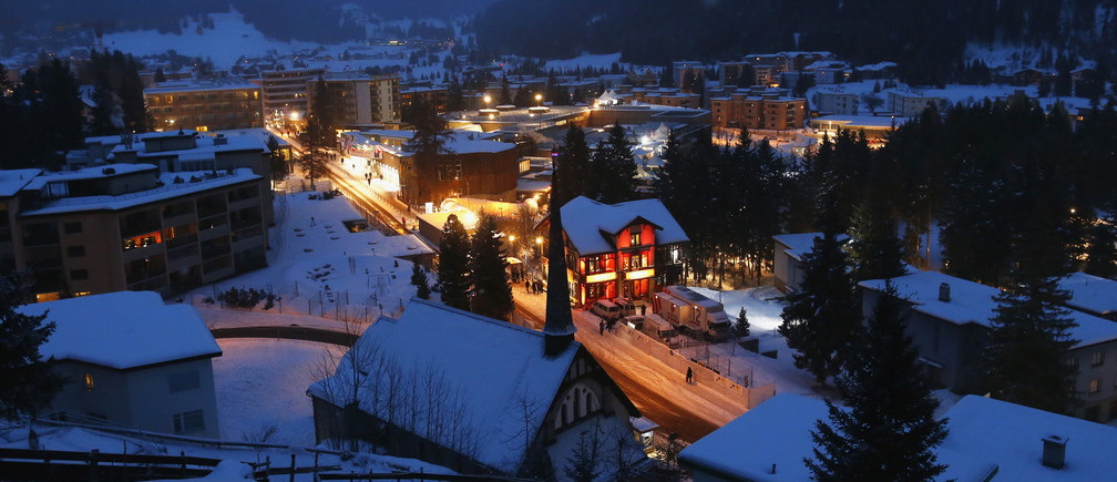 A view of Davos with the Congress Center in the early morning of the annual meeting of the World Economic Forum in Davos