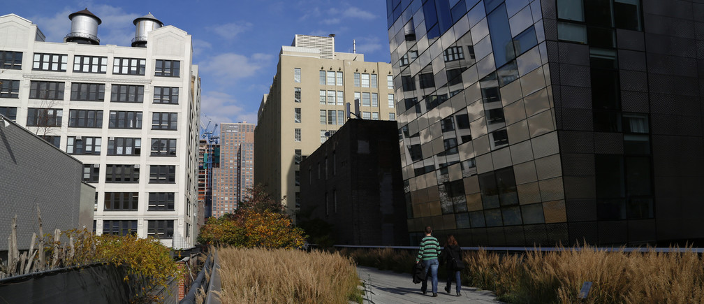 People walk along High Line park on a warm autumn day in New York November 11, 2014. The High Line, renovated into a public park, was formerly an elevated railway 30 feet above the city's West Side that was built in 1934 for freight trains hauling dairy products, produce and meats and had become derelict after the rail closed in 1980.     REUTERS/John Schults (UNITED STATES - Tags: ENVIRONMENT SOCIETY CITYSCAPE) - GM1EABC1B7I01
