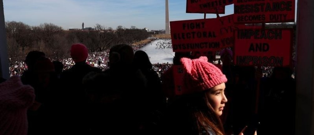 Thousands gather at the U.S. National Mall in front of the Washington Monument to participates in the Second Annual Women's March in Washington, U.S. January 20, 2018. REUTERS/Leah Millis - RC15F800F990