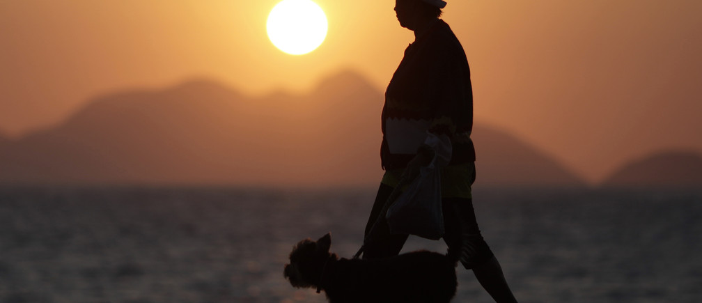 An elderly lady walks with her dog in Copacabana in Rio de Janeiro September 13, 2011. World Bank data show the growth rate of Brazil's older population as many times that of the most developed countries in Europe, projected to equal 14% of the population by 2033, while Copacabana has the largest number of  retirees of any neighborhood in the country. Picture taken September 13, 2011. REUTERS/Ricardo Moraes (BRAZIL - Tags: SOCIETY) - GM1E79F0ERY01