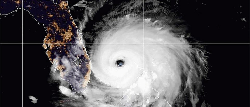 The eye of Hurricane Dorian remains near the city of Freeport, Bahamas in a satellite photograph distributed by the NOAA's National Weather Service September 2, 2019.  National Weather Service/Handout via REUTERS. THIS IMAGE HAS BEEN SUPPLIED BY A THIRD PARTY. - RC1D602483E0