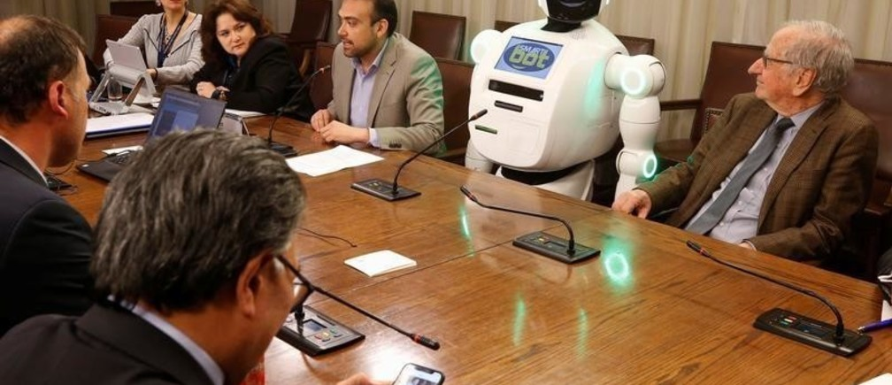 A robot is seen at science and technology commission of the Chamber of Deputies during a demonstration of technological innovation at the Chilean Congress in Valparaiso, Chile  October 2, 2019. REUTERS/Rodrigo Garrido - RC13448467B0