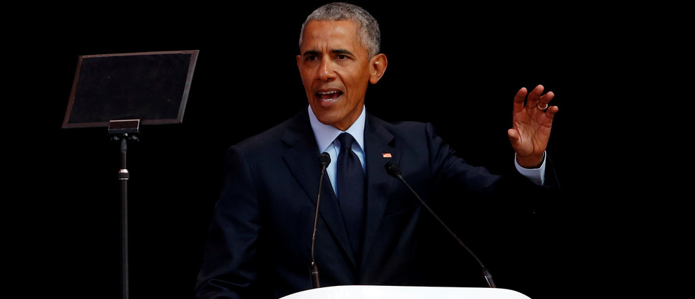 Former U.S. President Barack Obama delivers the 16th Nelson Mandela annual lecture, marking the centenary of the anti-apartheid leader's birth, in Johannesburg, South Africa July 17, 2018. REUTERS/Siphiwe Sibeko