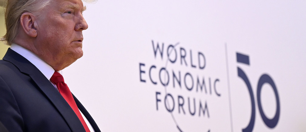 President Donald J. Trump, President of the United States of America appears before the media at the World Economic Forum Annual Meeting 2020 in Davos-Klosters, Switzerland, 21 January. Copyright by World Economic Forum/ Valeriano Di Domenico\r