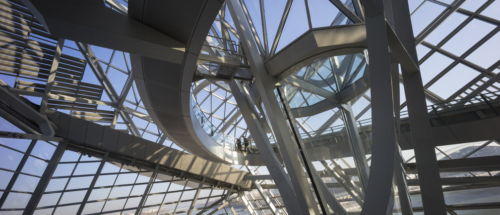 Daylight filters through the glass structure in this interior view of the Confluences Musee which is located on the southern tip of the peninsula where the Rhone and Saone rivers join in Lyon December 23, 2014.