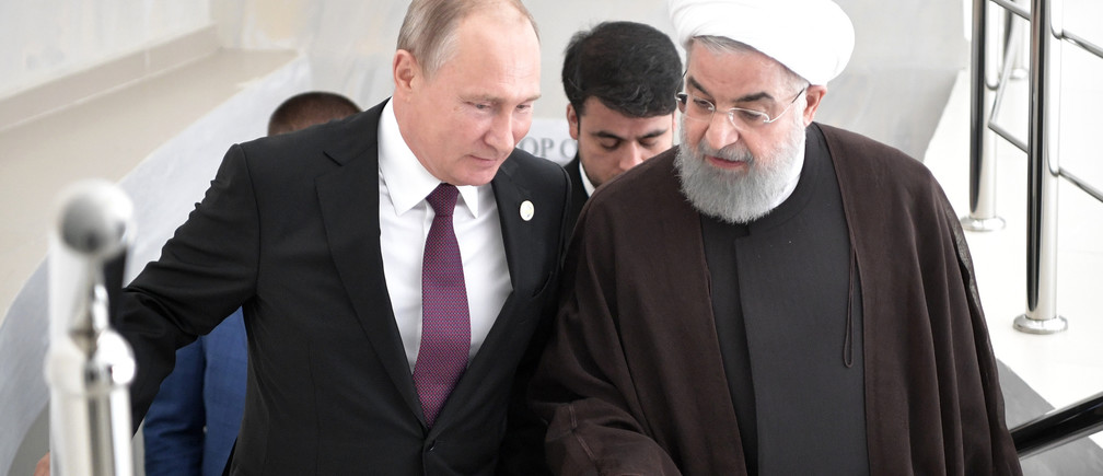 Russian President Vladimir Putin and Iranian President Hassan Rouhani attend a meeting during the Fifth Caspian Summit in Aktau, Kazakhstan August 12, 2018.  Sputnik/Alexei Nikolsky/Kremlin via REUTERS ATTENTION EDITORS - THIS IMAGE WAS PROVIDED BY A THIRD PARTY. - UP1EE8C1E0PP0