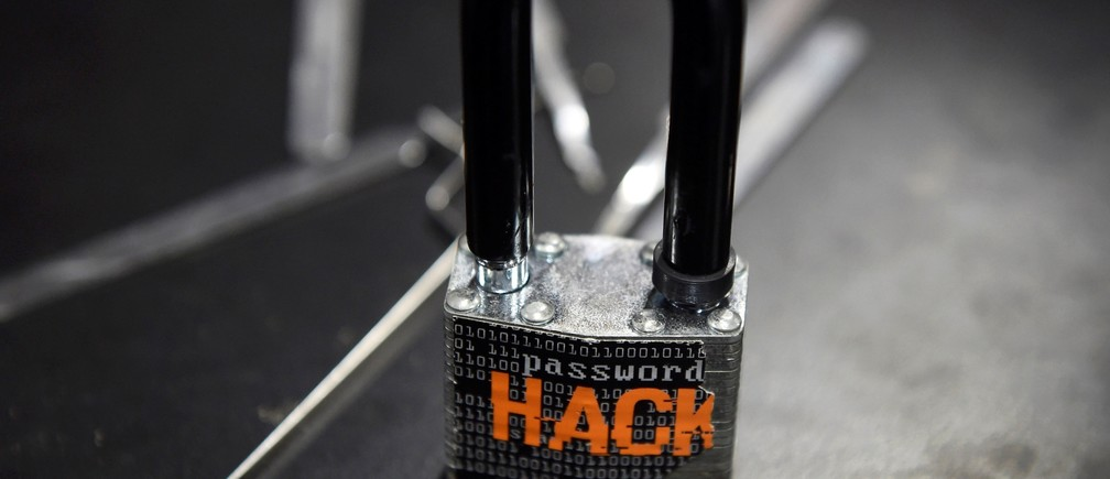 A padlock is displayed at the Alert Logic booth during the 2016 Black Hat cyber-security conference in Las Vegas, Nevada, U.S. August 3, 2016.