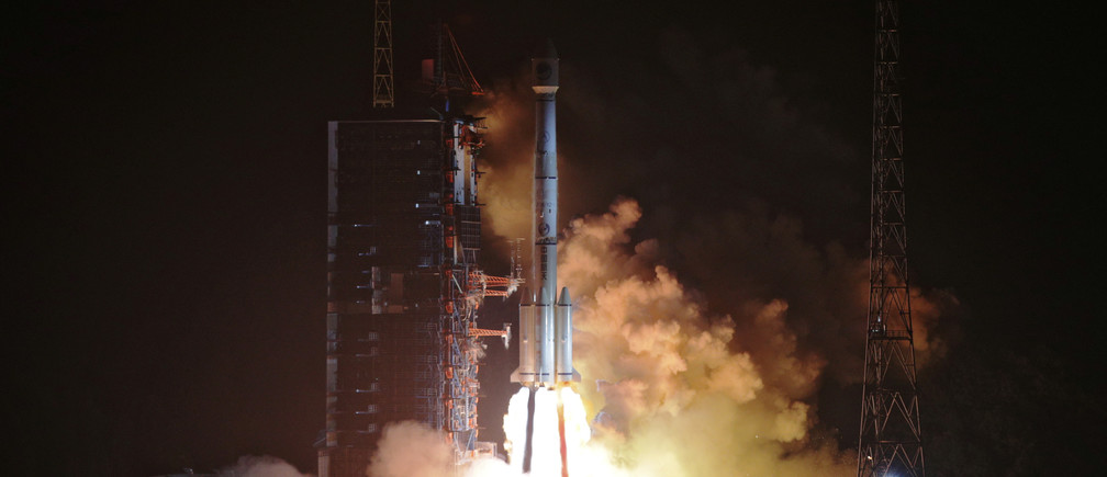 Two BeiDou-3 satellites via a single carrier rocket take off at the Xichang Satellite Launch Center, Sichuan province, China November 19, 2018.  REUTERS/Stringer ATTENTION EDITORS - THIS IMAGE WAS PROVIDED BY A THIRD PARTY. CHINA OUT. - RC1FD9BA1C80