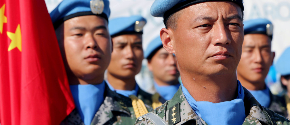 Chinese Peacekeepers in the United Nations Mission to South Sudan (UNMISS) parade during the International Day of United Nations Peacekeepers in Juba, South Sudan May 29, 2017. Picture taken May 29, 2017. REUTERS/Samir Bol - RC16795839E0