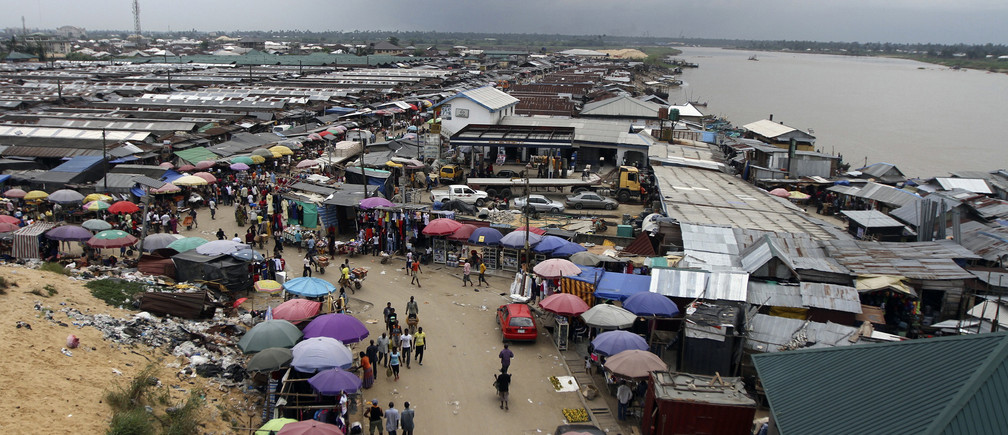 A view of the Swali market alongside the river Nun, in Yenagoa, the capital of Nigeria's oil state of Bayelsa November 27, 2012.