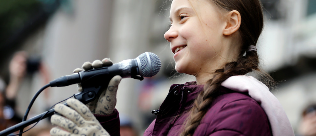 Swedish teenage climate activist Greta Thunberg speaks during a demonstration of the Fridays for Future movement in Lausanne, Switzerland January 17, 2020. REUTERS/Pierre Albouy - RC2OHE9BUW4L