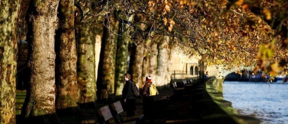 People walk underneath autumnal trees during a clear morning in Westminster in London, Britain, November 22, 2019. REUTERS/Henry Nicholls - RC29GD98Z3CJ