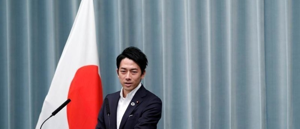 Japan's Environment Minister Shinjiro Koizumi attends a news conference at Prime Minister Shinzo Abe's official residence in Tokyo, Japan September 11, 2019. REUTERS/Issei Kato - RC13BE210F00