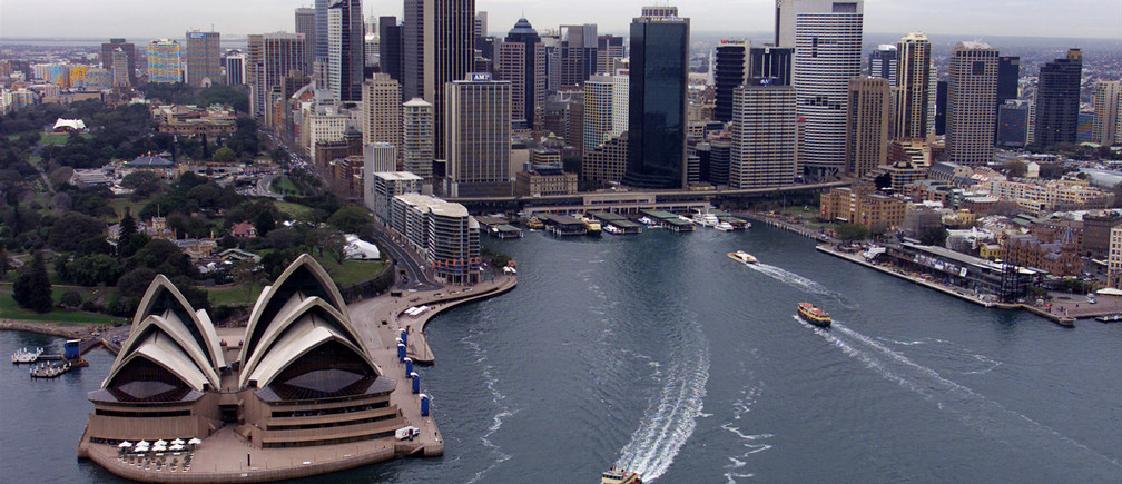An aerial view of Sydney's Opera House and Circular Quay in the cities central business district August 18, 2000. Sydney is hosting the Olympic Games which will begin on September 15.  MDB/CC - RTRZUGR