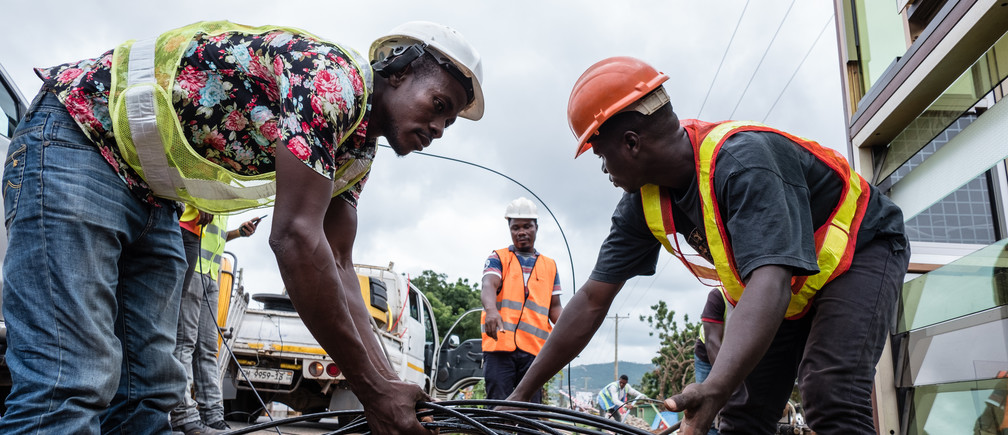 Istallation of  internet fibre cables unferground on the outskirt of Accra a project by Csquaered.