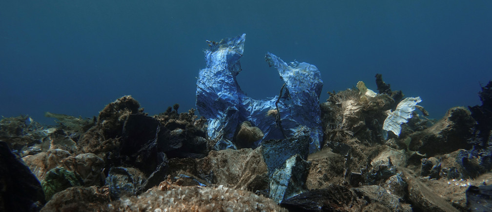 A plastic bag is seen at the bottom of the sea, off the island of Andros, Greece, July 20, 2019.