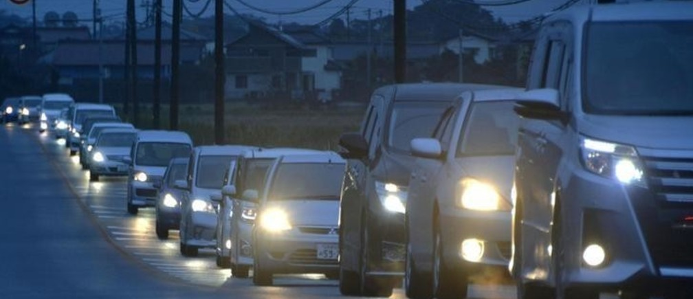 A traffic jam is seen as people evacuate after tsunami advisories were issued following an earthquake, in Iwaki, Fukushima prefecture, Japan, in this photo taken by Kyodo November 22, 2016.  Mandatory credit Kyodo   Kyodo/via REUTERSATTENTION EDITORS - THIS IMAGE WAS PROVIDED BY A THIRD PARTY. EDITORIAL USE ONLY. MANDATORY CREDIT. JAPAN OUT. NO COMMERCIAL OR EDITORIAL SALES IN JAPAN.     TPX IMAGES OF THE DAY