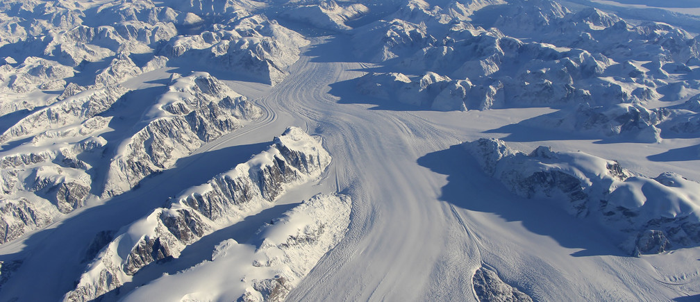 Heimdal Glacier in southern Greenland is seen in a NASA image captured by Langley Research Center's Falcon 20 aircraft October 13, 2015 and released November 24, 2015.
