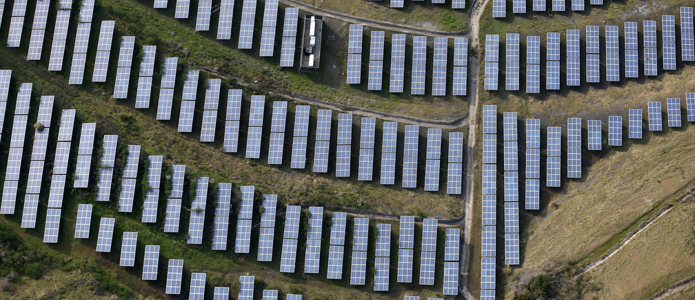 An array of solar panels are seen in Oakland, California, U.S. December 4, 2016.