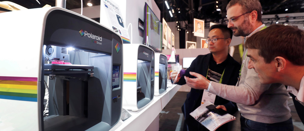 Polaroid PlaySmart 3D printers for the home are displayed  during the 2019 CES in Las Vegas, Nevada, U.S. January 9, 2019. REUTERS/Steve Marcus - RC1B8B7EFA40