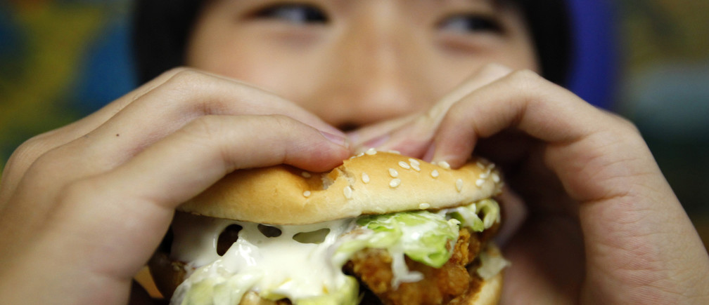 A boy poses with a chicken burger at a fast food outlet in Taipei January 29, 2010. The Taiwan Department of Health on Thursday proposed a ban on junk food advertisements aired around children's television programmes, to tackle the growing child obesity rate, said officials.    REUTERS/Nicky Loh (TAIWAN - Tags: SOCIETY FOOD HEALTH MEDIA) - GM1E61T0YU301