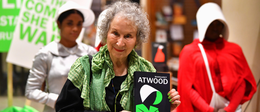 Author Margaret Atwood holds her new novel The Testaments during the launch at a book store in London, Britain early September 10, 2019. REUTERS/Dylan Martinez - RC121AC3E5F0