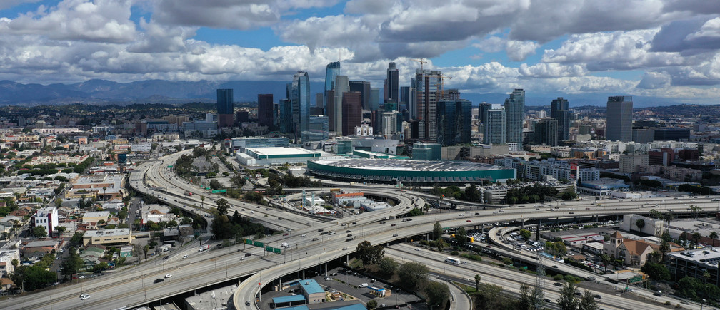 A general view of freeways leading into downtown Los Angeles after California issued a stay-at-home order due to coronavirus disease (COVID-19) in Los Angeles, California, U.S., March 23, 2020.