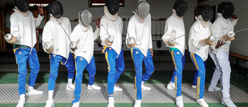 Prisoners are photographed during the art of fencing learning session in Thies, Senegal September 17, 2019. .Picture taken September 17. 2019. REUTERS/. Zohra Bensemrs - RC1B2CF508D0