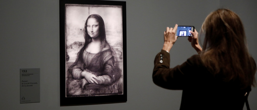 "An infrared reflectography of the painting ""Mona Lisa"" by Leonardo da Vinci is pictured during a press visit of the ""Leonardo da Vinci"" exhibition to commemorate the 500-year anniversary of his death at the Louvre Museum in Paris, France, October 20, 2019. REUTERS/Benoit Tessier - RC161BE1A3C0"