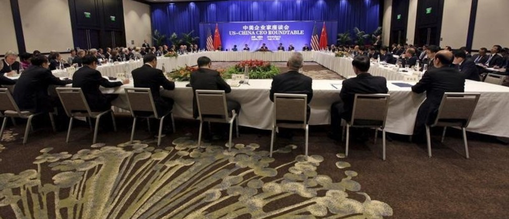 Chinese President Xi Jinping speaks at a U.S.-China business roundtable, comprised of U.S. and Chinese CEOs, in Seattle, Washington September 23, 2015. The Paulson Institute, in partnership with the China Council for the Promotion of International Trade, co-hosted the event.