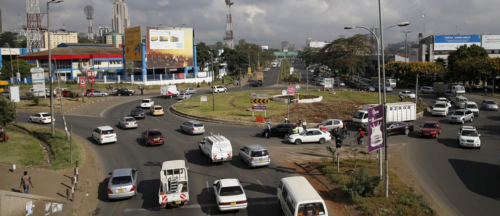 Motorists drive into a roundabout linking Mombasa road and Uhuru Highway towards the city centre in Kenya's capital Nairobi March 4, 2016.
