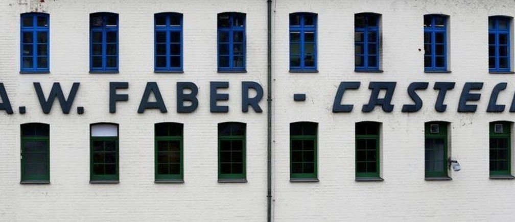 Faber-Castell company name, manufacturer of wood-cased pencils, is pictured at the museum in Stein near Nuremberg, Germany January 16, 2018. Picture taken January 16, 2018.