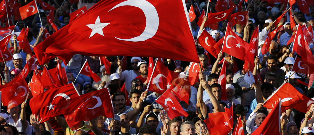 People wave flags as they wait for Turkish President Tayyip Erdogan to appear for a speech in Istanbul, Turkey, July 16, 2016.   REUTERS/Murad Sezer - RTSIAZJ