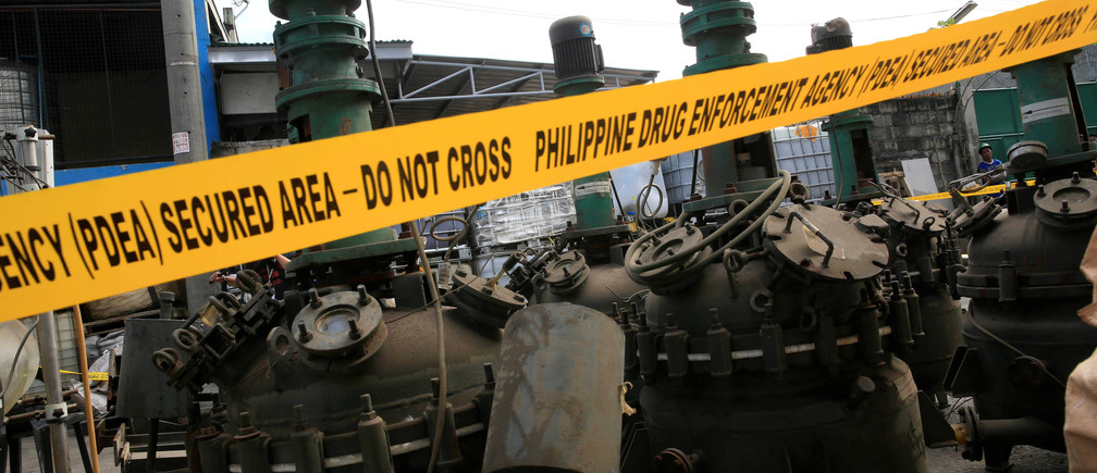 aboratory equipment used in the productions of methamphetamine hydrochloride or Shabu is seen during a Philippine Drug Enforcement Agency destruction of chemicals and other evidence in Valenzuela city, north of Manila, Philippines May 24, 2016.