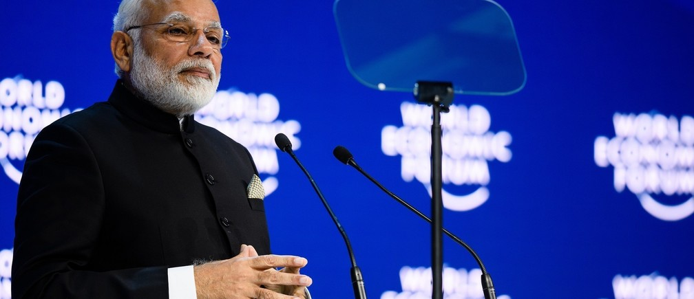 Narendra Modi, Prime Minister of India speaking during the Opening Plenary at the Annual Meeting 2018 of the World Economic Forum in Davos, January 23, 2018.