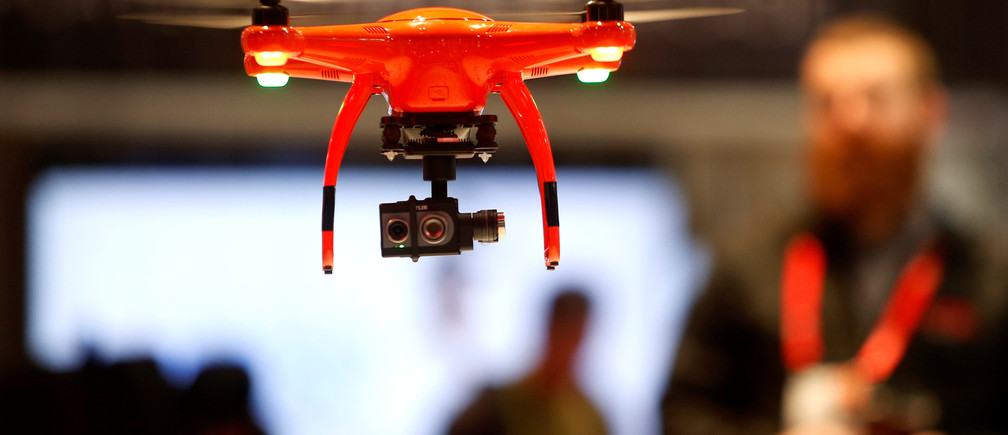 An Autel Robotics X-Star drone with a FLIR Duo module is shown during the 2017 CES in Las Vegas, Nevada, U.S., January 6, 2017. The module is a compact dual-sensor thermal and visible light imager. REUTERS/Steve Marcus - RTX2XTCC