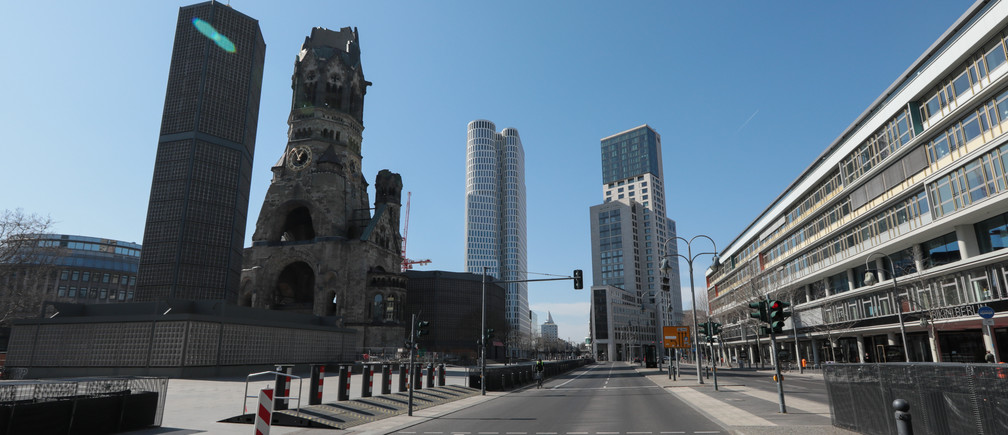 An empty street near Kaiser Wilhelm Memorial Church is pictured in Berlin, during  the coronavirus disease (COVID-19) outbreak, in Germany, March 25, 2020.