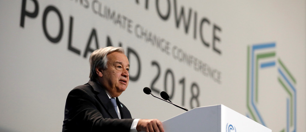 UN Secretary General Antonio Guterres addresses during the opening of COP24 UN Climate Change Conference 2018 in Katowice, Poland December 3, 2018. REUTERS/Kacper Pempel - RC1EBDD5B470