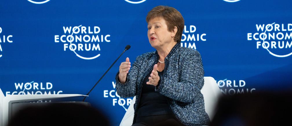 Kristalina Georgieva, Directrice Générale, Fonds monétaire international (FMI) s'exprimant lors de la session Perspectives économiques mondiales lors de la réunion annuelle du Forum Économique Mondial 2020 à Davos-Klosters, Suisse, 22 janvier.
