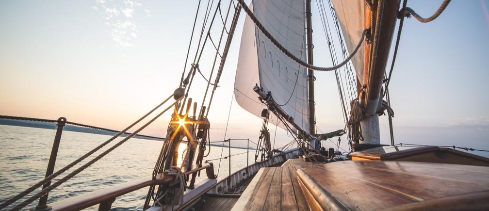 A sailing boat.