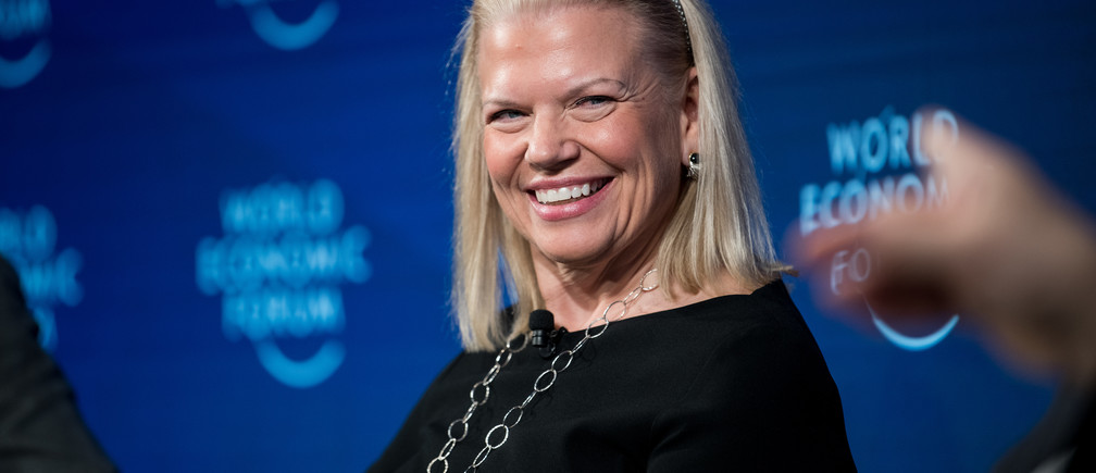 "Ginni Rometty, Chairman, President and Chief Executive Officer, IBM Corporation, USA during the Session ""Data Responsibility in a Fractured World"" at the Annual Meeting 2018 of the World Economic Forum in Davos, January 25,  2018.Copyright by World Economic Forum / Boris Baldinger"