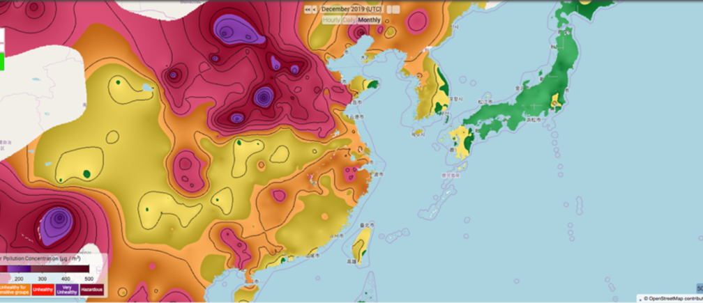 climate change air pollution map particles bangladesh east asia