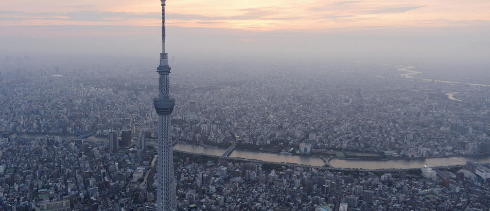 A view of Tokyo Skytree, the world's tallest broadcasting tower at 634 metres (2080 feet), in Tokyo in this photo taken by Kyodo on May 21, 2012.