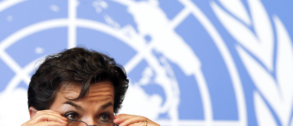 Christiana Figueres, Executive Secretary of the United Nations Framework Convention on Climate Change (UNFCCC), gestures during a news conference after a week long preparatory meeting at the U.N. in Geneva February 13, 2015. The United Nations Climate Change Conference, COP21 or CMP11, will be held in Paris November 30 to December 11, 2015.